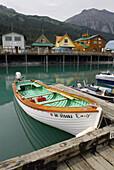 Public Boat Harbor Dock Area in Seward Alaska AK U S United States Kenai Peninsula Resurrection Bay stores shops boats color colorful