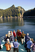 Tourists Passengers on Fjord Wildlife Tour Boat near Seward Alaska AK U S United States Kenai Peninsula Resurrection Bay tourism travel vacation
