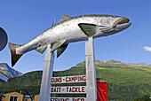 Fish Sign Port Valdez Prince William Sound Alaska AK United States U S tackle licenses bait vacation tourist tourism travel sportsman sportsmen sport