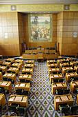 Senate Chambers Capitol Building Salem Oregon OR US United States government legislature legislative law legal architects Trowbridge and Livingston art-deco design douglas fir design carpet