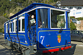 Barcelona, Catalonia, Catalunya, Cataluña, cities, city, Cityscape, Cityscapes, Color, Colour, Daytime, Europe, exterior, Old fashioned, Old-fashioned, outdoor, outdoors, outside, Spain, Streetcar, Streetcars, Tibidabo, Tram, Tramcar, Tramvia Blau, Tramwa