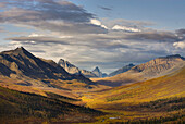 North klondike River Valley displaying vibrant colors of autumn foliage, Tombstone Territorial Park, Yukon, Canada
