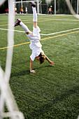 s, Exterior, Fair-haired, Football, Football ground, Full-body, Full-length, Fun, Goal, Goalie, Goali