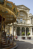 Theatre and merry-go-round, Avignon. Provence, France