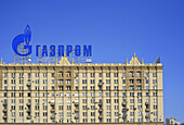 House with advertisement of Gasprom, view from Moskva river, Moscow, Russia