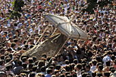 Procession, 'romería' (pilgrimage) to El Rocío. Almonte, Huelva province, Andalucia, Spain