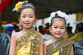 Young girls in traditional dress. Chiang Mai, Thailand