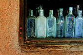 Adobe, America, Antique, Bottle, Color, Colour, Glass, Green, Junk, New Mexico, Old, Santa Fe, Usa, Used, Wall, Window, Worn, S19-656843, agefotostock