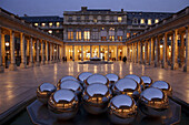 The night view of the courtyard of Palais Royal. Paris. France
