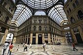 The interior view of Galleria Umberto shopping arcade. Naples. Campania. Italy