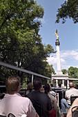 Sightseeing tour, Friedensengel in background, Munich, Bavaria, Germany