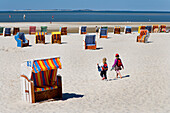 Beach chairs at beach, Norddorf, Amrum island, North Frisian Islands, Schleswig-Holstein, Germany