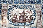 Tiles in museum Koenigspesel, Hooge hallig, North Frisian Islands, Schleswig-Holstein, Germany