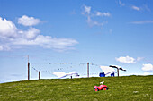 Toy car and clotheslines, Hooge hallig, North Frisian Islands, Schleswig-Holstein, Germany