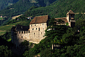 Runkelstein castle in front of a mountainside, South Tyrol, Italy, Europe