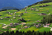 View at houses at a green valley, Kastelruth, South Tyrol, Italy, Europe