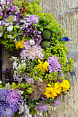 Floral wreath made of meadow flowers, South Tyrol, Italy, Europe