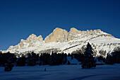 Berglandschaft in Winter, Karerpass, Rosengarten, Rosengartengruppe, Eggental, Südtirol, Italien