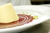 Dessert, Panna cotta with raspberry sauce, Gastronomy, South Tyrol, Italy