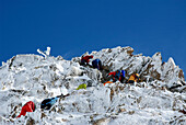 Mountaineers climbing to the summit, Mountain landscape, Wildspitze, South Tyrol, Italy