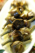 Artichokes, bowl with starters at the Restaurant Da Cesare, Bozen, South Tyrol, Italy, Europe