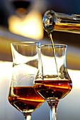 Two glasses of liqueur, Hotel Bad Schörgau, Bad Schörgau, Valley Sarntal, South Tyrol, Italy, Europe