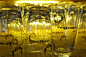 Water glasses with emblem, Restaurant Zum Hirschen, Vilpian, South Tyrol, Italy, Europe