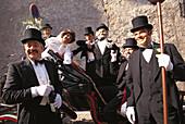 Traditional Egetmann procession on Shrove Tuesday, Tramin an der Weinstraße, Unterland, South Tyrol, Italy