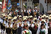 Procession through the town, brass band, Tournament, Oswald von Wolkenstein Ritt, Event 2005, Siusi allo Sciliar, South Tyrol, Italy