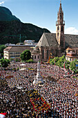 Bolzano cathedral and Walther square with monument, Music bands, Bolzano, South Tyrol, Italy