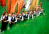 Procession through Sarntal, Men in traditional costume, Durnholz, South Tyrol, Italy