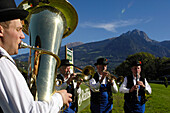 Musicians with brass instruments, tuba, Traditional clothes, Völs am Schlern, Bolzano, South Tyrol, Italy