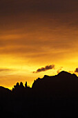 Silhouette of the Vajolet towers in the morning light, Rosengarten, Dolomites, South Tyrol, Italy