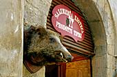 The entrance of a delicatessen, Volterra, Tuscany, Italy, Europe