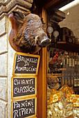 Entrance of a delicatessen, Volterra, Tuscany, Italy, Europe