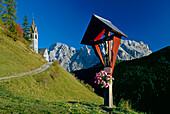 Wayside cross, Santa Barbara, near Wengen, La Val, Val Badia, Dolomite Alps, South Tyrol, Italy