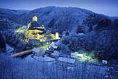Manderscheid castles in winter, Lower castle, near Manderscheid, Eifel, Rhineland Palatinate, Germany