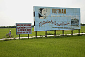 Vietnam advertising in rice fields. Vietnam