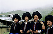 Colorful black zhao ( yao ) girls in a remote village in north west vietnam