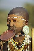 Portrait of a colorful Surma woman, Ethiopia