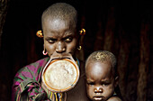 The Colorful Surma tribe live along the Kibish river near the border of Sudan in the lower Omo valley, Ethiopia