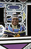Ndebele, artist, Esther, Mahlangu, at, her, home, KwaNdebele, South, Africa