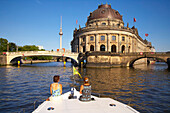 with the houseboat through Berlin Mitte (centre), Museumsinsel, Bodemuseum, television aerial mast, Spree, Germany, Europe