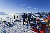 Guests of Apres Ski Horny Bar, Horneggli, Schoenried, Gstaad, Bernese Oberland, Canton of Berne, Switzerland