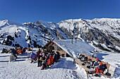 Guests in the mountain restaurant Chuebodmi, Adelboden, Bernese Oberland, Canton of Berne, Switzerland