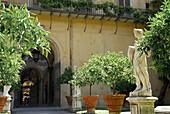 Garten mit Pflanzen und Statue, Palazzo Medici Riccardi, Florenz, Toskana, Italien, Europa