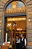 Two waiters at the entrance of the cafe Rivoire, Piazza della Signoria, Florence, Tuscany, Italy, Europe