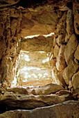 Inside the prehistoric momument Nau des Tudons, Minorca, Balearic Islands, Spain