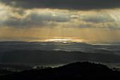 Landscape northeast of Monte Toro at sunrise, Menorca, Balearics, Spain