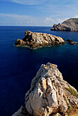 Rocky coast close to Fornells, Cap de Fornells, Minorca, Balearic Islands, Spain